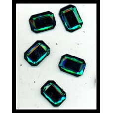 Emerald Green Rectangle Flatback