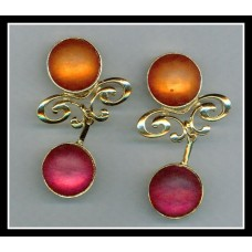 Round Orange & Pink Earrings