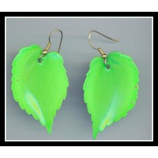 Neon Green Leaf Earrings