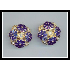 Blue Flowered Vintage Earrings