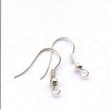 F222 earwire silver plate with ball  and spring