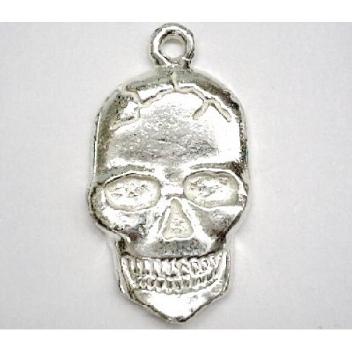 Pewter Casting Silver Plated Flat Skull