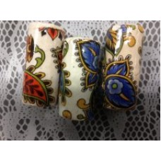 Ceramic Bead Pasley Design White