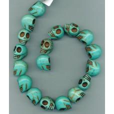 Blue Turquoise Skulls 22mm