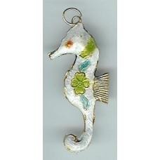 cloisonne seahorse white